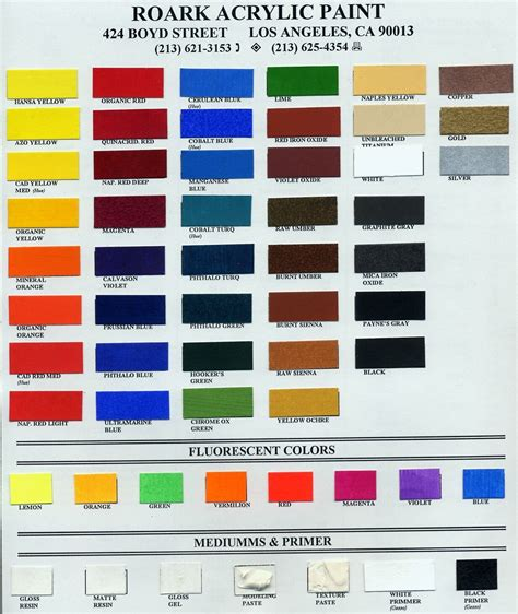 roark acrylic paint colors subtractive color mixtures