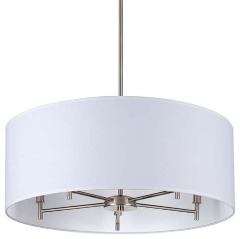 walker 5 arm chandelier drum shade brushed nickel base