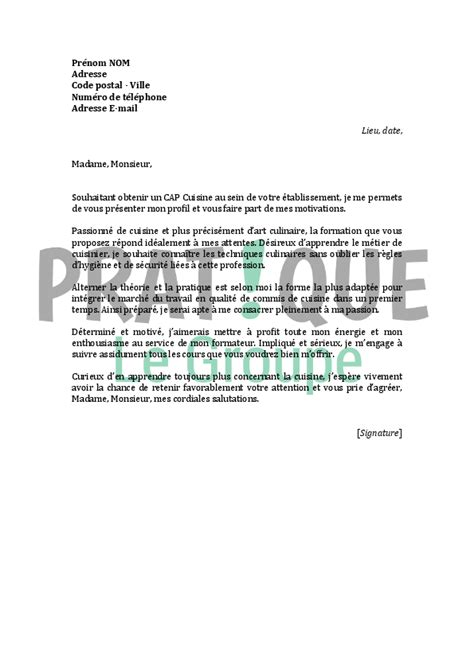 lettre de motivation pour un cap cuisine pratique fr