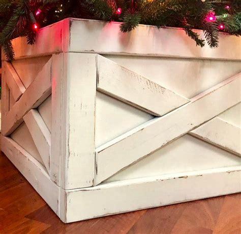 farmhouse christmas tree box skirt etsy homemade
