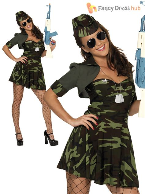 Ladies Sexy Army Girl Soldier Uniform Womens Military Fancy Dress Costume Outfit | eBay