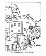Coloring Pages Early American Watermill Colonial Mill America Printable Sheets Drawing Grist Colouring History Worksheets Colour Books Drawings Paper Trades sketch template