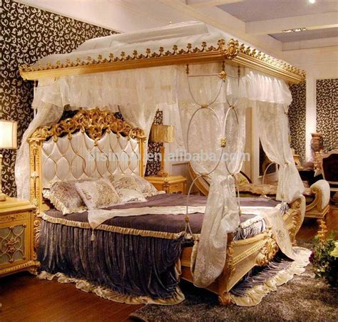 canopy bed curtain luxury rococo style wood carved marquetry canopy