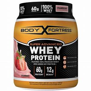 Body Fortress Advanced Whey Protein Strawberry Powder 32 Oz
