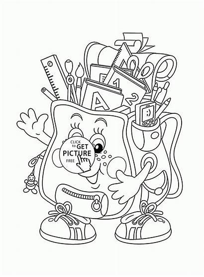 Coloring Pages Bag Supplies Printable Drawing Printables