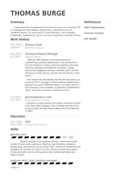 produce clerk resume sles visualcv resume sles