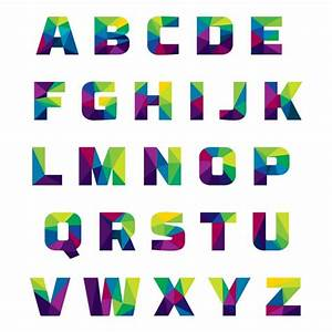 coloured alphabet made of polygonal shapes vector free With photo letters free