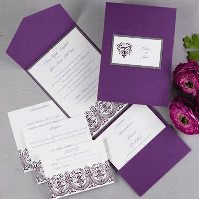 purple wedding invitations  pocket  titles