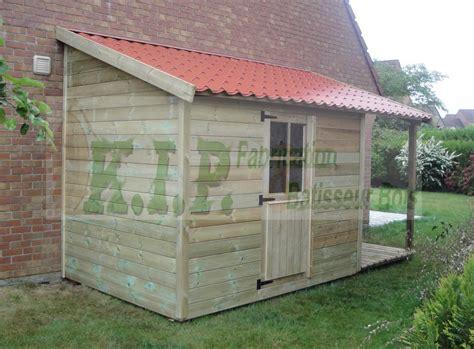 abri de jardin adosse garage bois toit une pente myqto