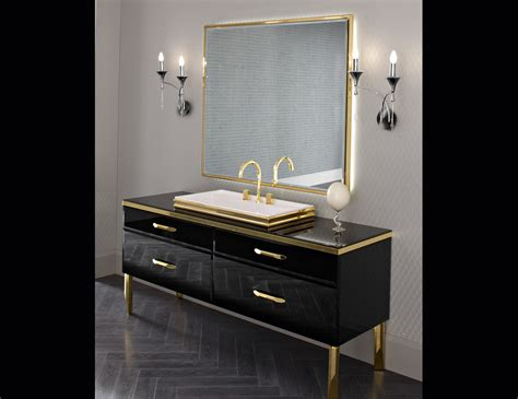 Luxury Bathroom Vanities by Milldue 18 Black Lacquered Glass Luxury Italian