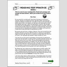 Reading Comprehension (level 5) Testing Practice I Abcteachcom Abcteach