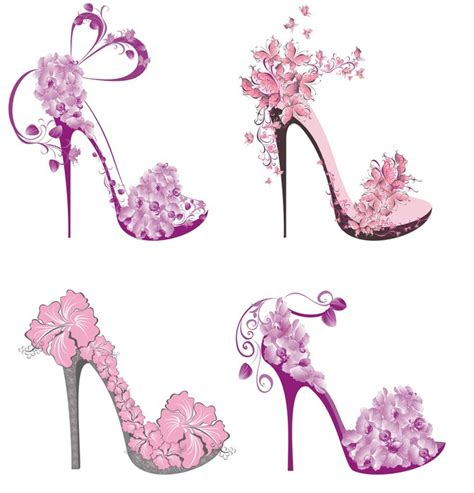 Sticker Collection Shoes On A High Heel Decorated With