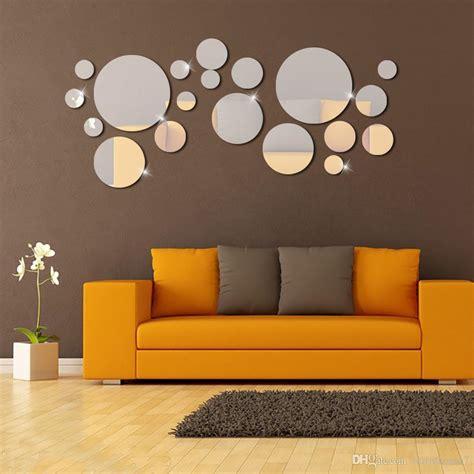 Multicolor sticker/3d diy clock wall clocks. Silver Circle Mirror Wall Stickers 3D DIY Mirror Effect Wall Sticker Bedroom Plastic Removable ...