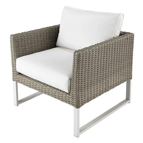 fauteuil de jardin en r 233 sine tress 233 e et tissu blanc lodge