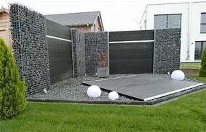 Gabionen Sichtschutz Terrasse : stilvoller sichtschutz aus gabionen ~ A.2002-acura-tl-radio.info Haus und Dekorationen
