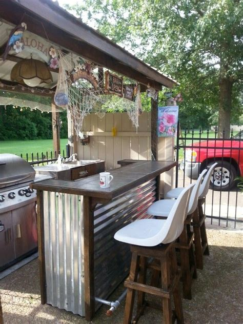 Outdoor Bar Ideas by Outdoor Tiki Bar With Bar Stools Outdoors