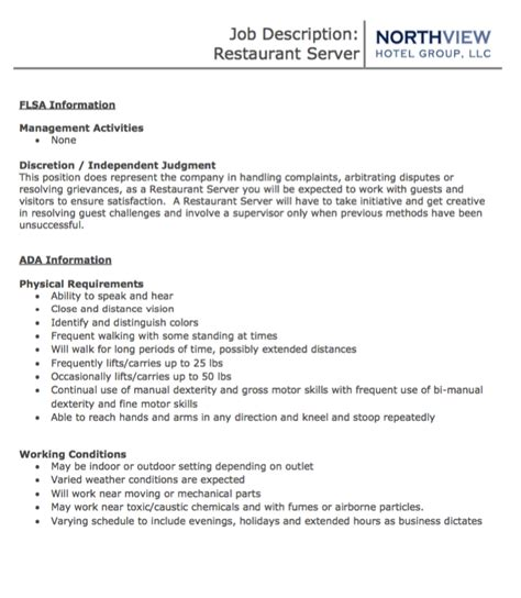 Duties Of A Restaurant Server For Resume by Restaurant Server Description Resumes Design