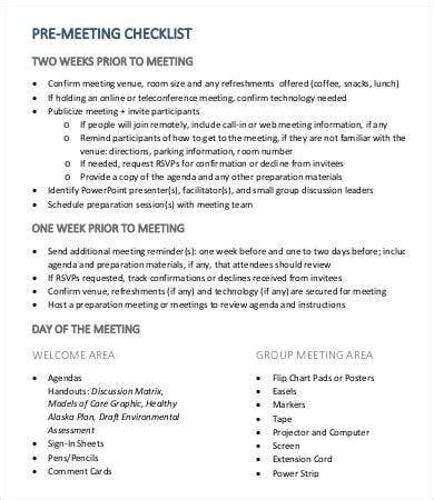 meeting checklist template   word  documents