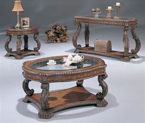 Antique Cherry Traditional Coffee Table With Glass Inlays
