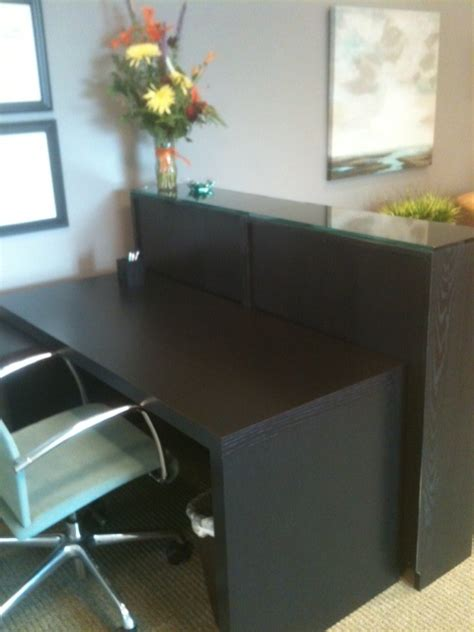 reception desk ikea usa malm desk and billy bookcase as reception desk view 1