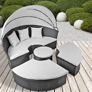 canape de jardin rond modulable gris en resine tressee With canapé lit rond