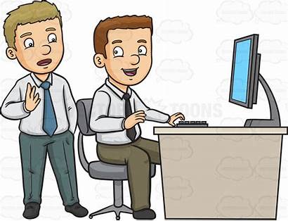 Clipart Working Colleagues Office Cartoon Discussing Animations