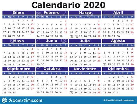 calendario espanol horizontal ilustracion del vector