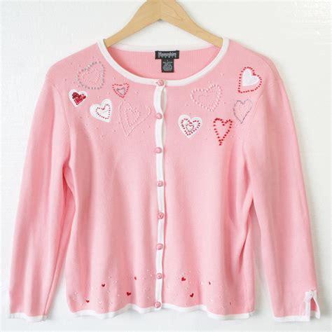light pink cardigan beaded hearts light pink cardigan valentines sweater