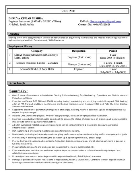 resume instrumentation engineer 9 year experience