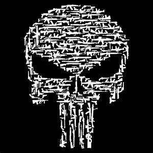 Black Punisher Style Gun Skull Long Sleeve Shirt