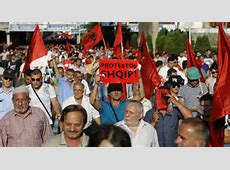 Ethnic Albanians protest against government in Macedonia