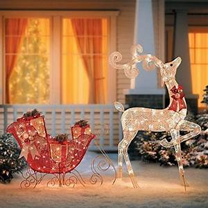 Glittering, Reindeer, And, Sleigh, Lighted, Christmas, Decor