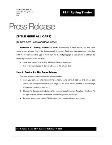 rolling thunder press release template