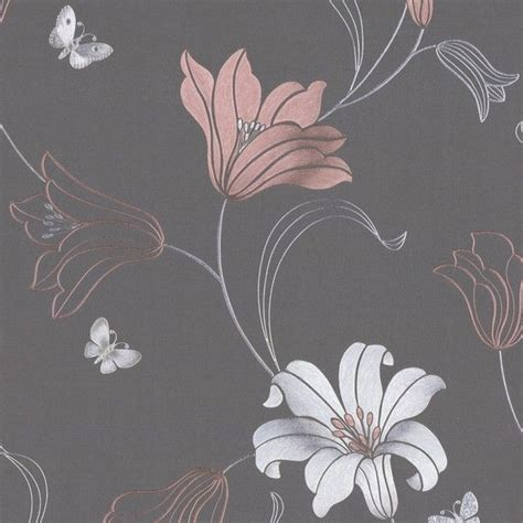 muriva couture floral vinyl wallpaper charcoal rose gold