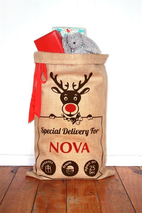 personalised hand screenprinted santa sack rudolf the red