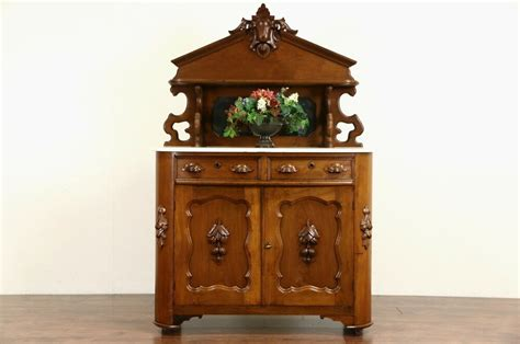 Antique Marble Top Sideboard by Carved Walnut 1870 Antique Marble Top Sideboard