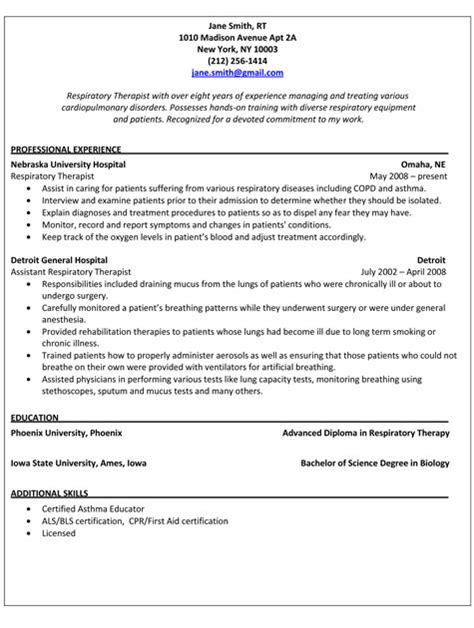 Physical Therapy Resume Sle by Respiratory Therapist Resume Sles Sarahepps