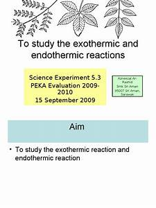 Experiment To Study The Exothermic And Endothermic