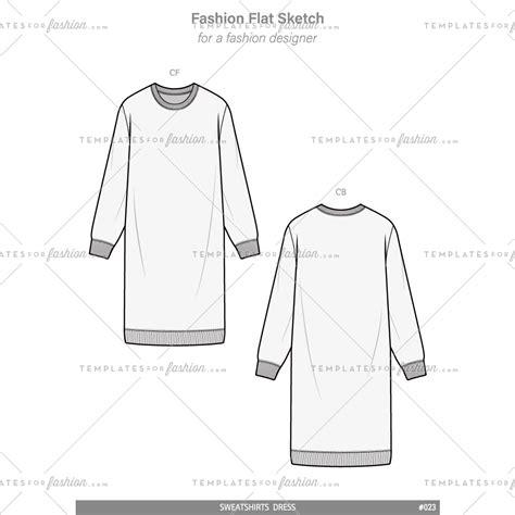 sweatshirts dress fashion flat technical drawing vector