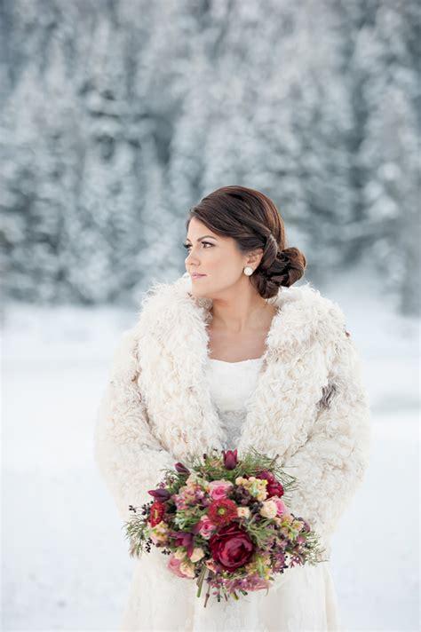 snowy winter wedding inspiration  brooke bakken