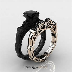 caravaggio 14k black and rose gold 125 ct princess black With black gold diamond wedding ring