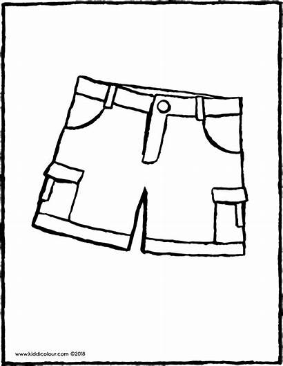 Shorts Colouring Drawing Clothes Kiddicolour Pages Summer