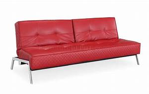 red bonded leather modern convertible sofa bed w chrome legs With red modern sofa bed