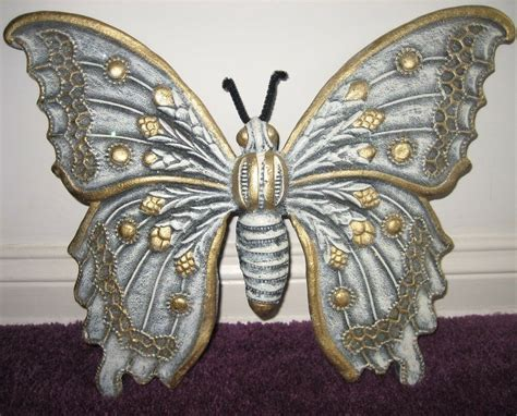 Home Interior Gold Butterflies : New Butterfly Wall Decor Ceramic Blue Gold Sparkly!