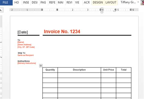 standard business invoice template  word