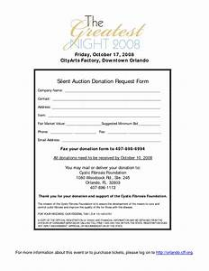 silent auction donation form template chainimage With sample donation letter for silent auction items