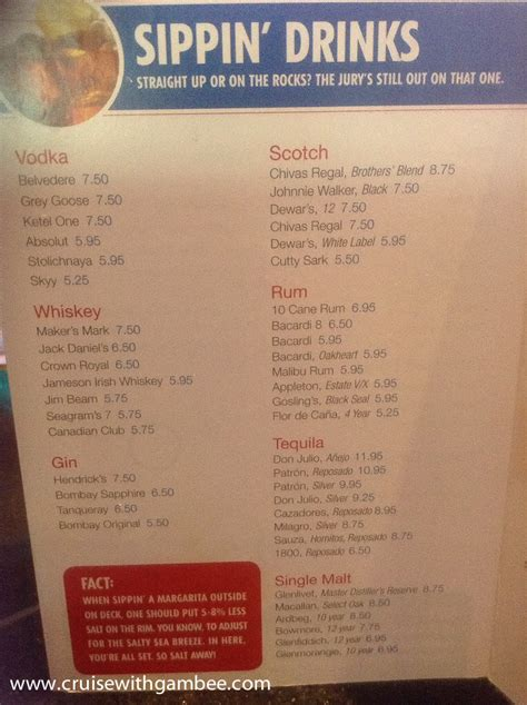 sweetwater river deck drink menu does carnival cruise drink packages