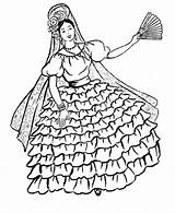 Coloring Pages Dancer Flamenco Spanish sketch template