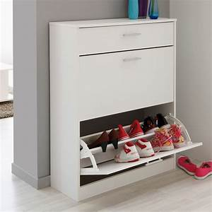 Placard à Chaussures : meuble chaussures 12 paires en bois l80cm h100cm mix blanc ~ Teatrodelosmanantiales.com Idées de Décoration