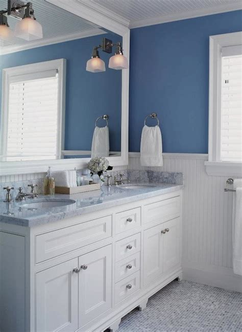 White And Blue Bathroom  Transitional Bathroom